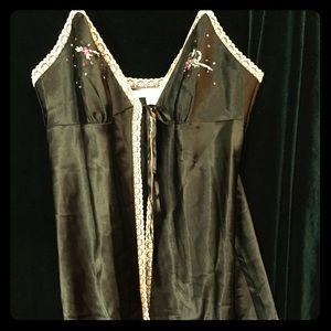 Black satin VS embroidered slip, ties at bust